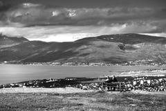 Norwegian couple enjoying Norway nature landscape background Royalty Free Stock Image