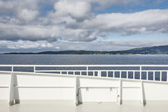 Norwegian cruise handrail detail. Fjord landscape. Summer holiday outdoor. Norway stock images