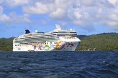 Norwegian cruise ship in Samana island Royalty Free Stock Photo