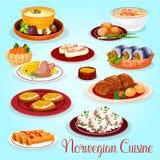 Norwegian cuisine dishes for lunch menu icon. Norwegian cuisine dishes for lunch menu cartoon icon. Salmon and mushroom cream soup, potato salmon pie, herring Royalty Free Stock Image