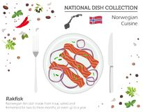 Norwegian Cuisine. European national dish collection.  Rakfisk i. Solated on white, infographic. Vector illustration Royalty Free Stock Images