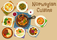Norwegian cuisine fish and meat dishes icon. Norwegian cuisine dinner icon of fish cream soup, trout with cucumber salad, salmon bean soup, lamb steak, toast Stock Photo