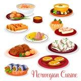 Norwegian cuisine national dishes set Royalty Free Stock Photo
