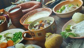 Norwegian cuisine. Traditional assorted dishes, Top view stock photos