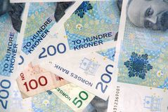 Norwegian currency. Norwegian notes royalty free stock photos