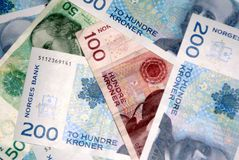 Norwegian currency. A sample of norwegian notes royalty free stock photography