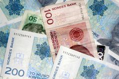 Norwegian currency. Norwegian notes royalty free stock photography