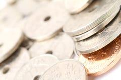 Norwegian currency. Closeup of Norwegian currency, also called kroner in Norwegian. 5,6 kroners = US Dollar stock images