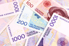 Norwegian Currency Notes. A closeup of Norwegain currency bank notes Royalty Free Stock Photos