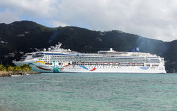 Norwegian Dawn cruise ship in port. Tortola, British Virgin Islands - December 10, 2008: Norwegian Cruise Line's Norwegian Dawn liner visitng the Caribbean Stock Images