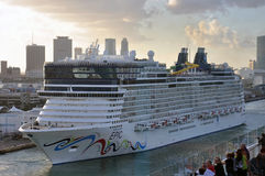 Norwegian Epic. Cruise ship sailing out from Port of Miami, USA Stock Photos