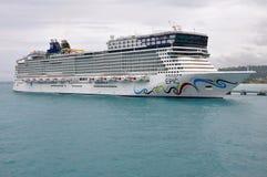 Norwegian EPIC in Jamaica. Norwegian Cruise Line's ship Norwegian EPIC visiting Ocho Rios, Jamaica Stock Image