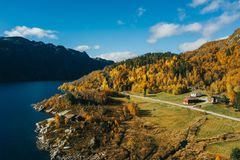 Norwegian Farm in The Fjords royalty free stock photography