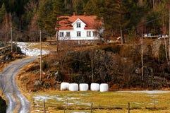 Norwegian farm in forest Stock Photo