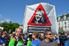Norwegian farmers protesting. The Norwegian government's agricultural policies during a rally organized by Norwegian Agrarian Association (Norsk Bondelag) in Stock Image
