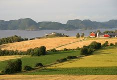 Norwegian farmland. By a fjord in Norway stock photos