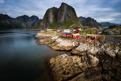 Norwegian Fisherman`s Cabins, Lofoten Islands Royalty Free Stock Images