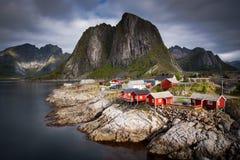 Norwegian Fisherman`s Cabins Rorbuer, Lofoten Stock Photo