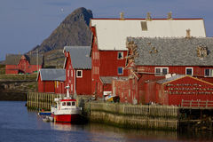 Norwegian fishing harbor Stock Images