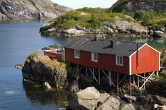 Norwegian fishing hut Stock Photo
