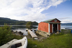 Norwegian fishing hut Stock Images