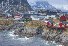 Norwegian Fishing Hut Village in Hamnoy During Early Spring Time in Lofoten Islands Royalty Free Stock Images