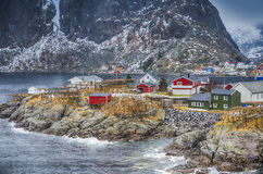Norwegian Fishing Hut Village in Hamnoy During Early Spring Time in Lofoten Islands Royalty Free Stock Photos