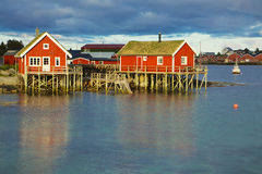 Norwegian fishing huts Stock Image