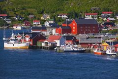 Norwegian fishing port. Colourful fishing port in Reine on Lofoten Islands, Norway Stock Photos