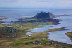 Norwegian fishing port. Scenic norwegian fishing port of Sorland on Lofoten islands Stock Photo