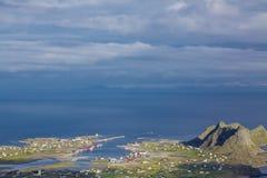 Norwegian fishing port. Scenic norwegian fishing town of Sorland on island Vaeroy, Lofoten islands Stock Images