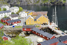 Norwegian fishing village Stock Images