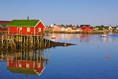 Norwegian fishing village Royalty Free Stock Photos