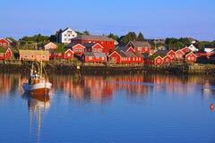 Norwegian fishing village. Reine, picturesque fishing village on Lofoten, Norway Stock Image
