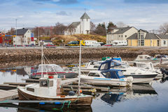 Norwegian fishing village landscape with small boats Stock Photo