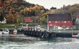 Norwegian fishing village on the sea coast Stock Images
