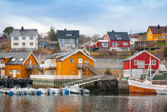 Norwegian fishing village, wooden houses on the sea coast Stock Image