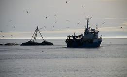 Norwegian fishingboat. With birds and sunset, Mandal, Norway Royalty Free Stock Photo