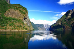 Norwegian fjord. Norway. Sognefjord - a beautiful place for tourism Royalty Free Stock Images