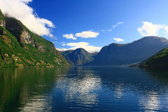 Norwegian fjord. Norway. Sognefjord - a beautiful place for tourism Stock Photos