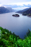 Norwegian Fjord. View of Norwegian fjord seen from above stock photos
