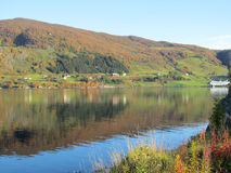 Norwegian fjord in autumn colours Royalty Free Stock Images