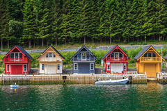 Norwegian Fjord. Cute traditional houses in Sognefjord, Norway Stock Photo
