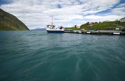 Norwegian fjord fishing wharf Royalty Free Stock Image