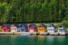 Norwegian Fjord Houses Stock Photos