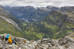 Norwegian fjord landscape. Geiranger village and mountains. Youn Stock Image