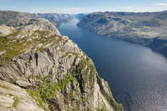 Norwegian fjord landscape. Preikestolen area. Norway landmark la Royalty Free Stock Image