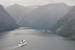 Norwegian fjord landscape. Storfjorden. Hellesylt, Geiranger cru Stock Images