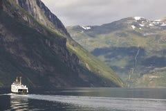Norwegian fjord landscape. Storfjorden. Hellesylt, Geiranger cru. Ise travel. Tourism Stock Photography