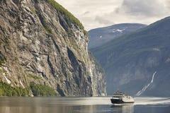 Norwegian fjord landscape. Storfjorden. Hellesylt, Geiranger cru. Ise travel. Tourism Royalty Free Stock Image